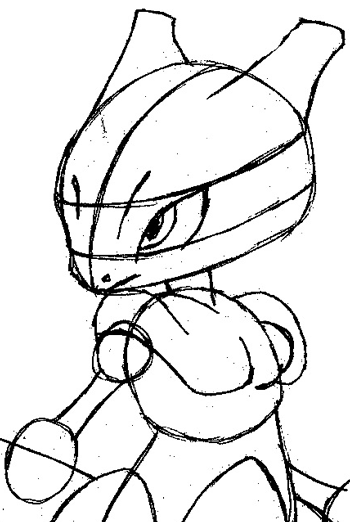 Step 8 : Drawing Mewtwo from Pokemon Easy Steps Lesson