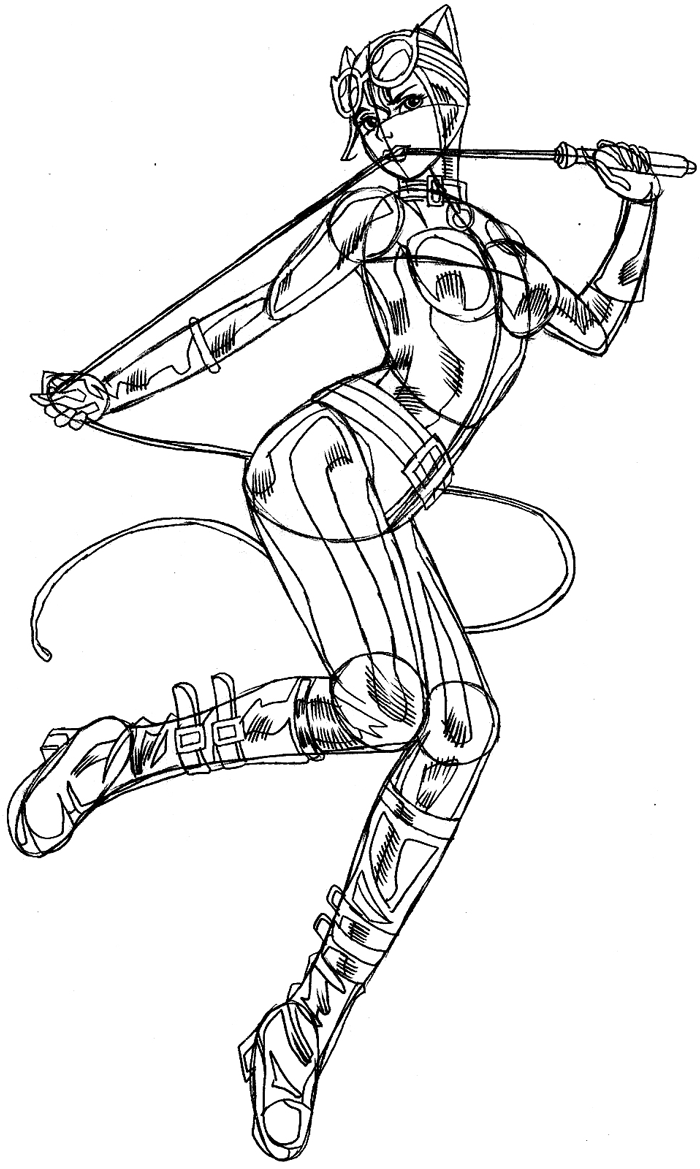 Step 13 : Drawing Catwoman Easy Steps Lesson