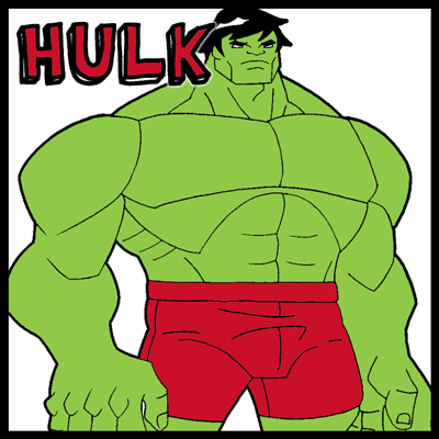 How to draw Hulk from Marvel Comics with easy step by step drawing tutorial