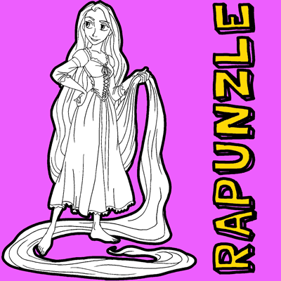 How to draw Rapunzel from Tangled with easy step by step drawing tutorial