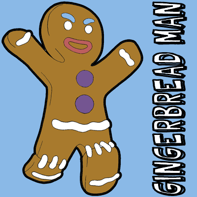How to draw Gingerbread Man from Shrek with easy step by step drawing tutorial