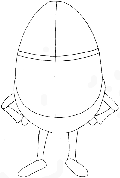 Step 4 : Drawing Humpty Dumpty from Puss In Boots Easy Steps Lesson