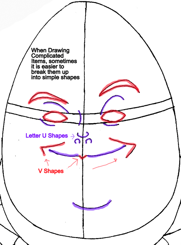 Step 5a : Drawing Humpty Dumpty from Puss In Boots Easy Steps Lesson