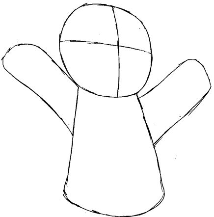 Step 3 : Drawing Gingerbread Man from Shrek Easy Steps Lesson
