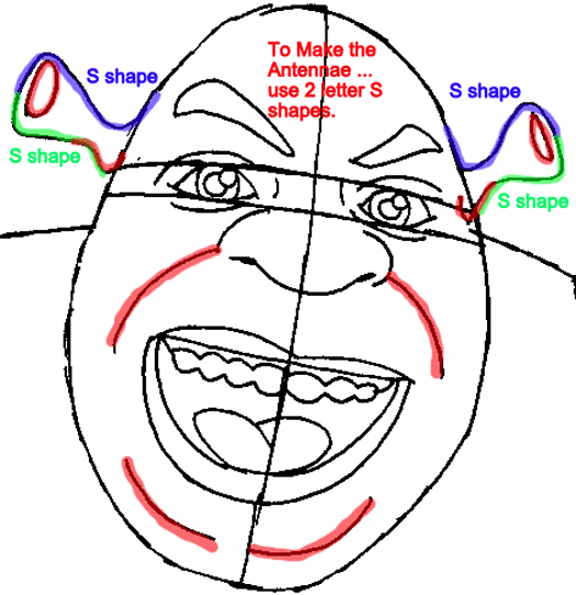 Step 6 : Drawing Shrek from Shrek Easy Steps Lesson