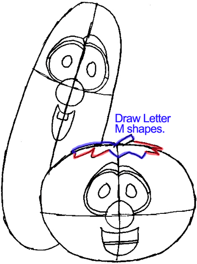 Step 6 : Drawing Bob and Larry from Veggietales Easy Steps Lesson
