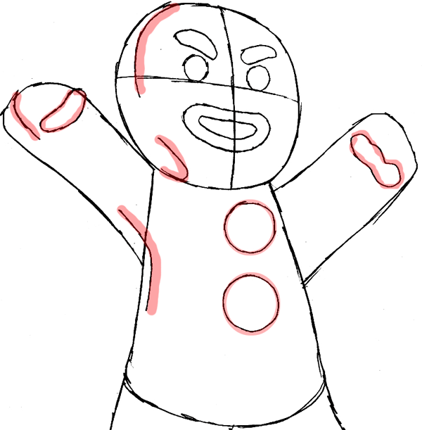 Step 7 : Drawing Gingerbread Man from Shrek Easy Steps Lesson