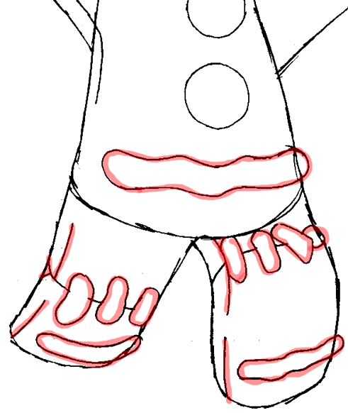 Step 8 : Drawing Gingerbread Man from Shrek Easy Steps Lesson