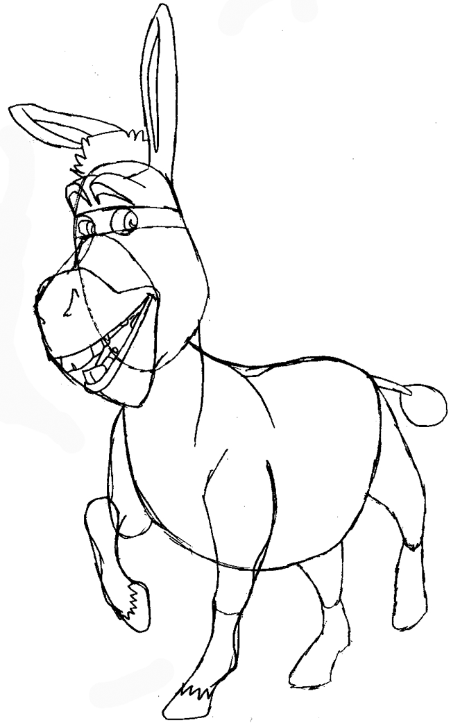 Line Drawing Donkey : How to draw donkey from shrek with easy step by