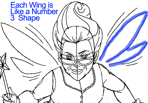 Step 11 : Drawing Fairy Godmother from Shrek Easy Steps Lesson