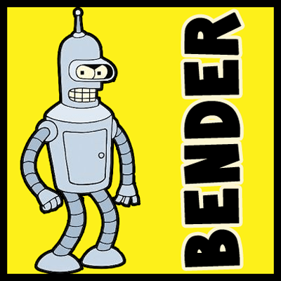 How to draw Bender from Futurama with easy step by step drawing tutorial