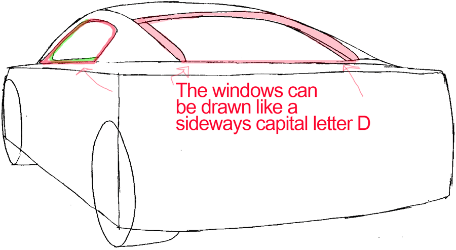 Step 4a : Drawing The Back of a Car Easy Steps Lesson