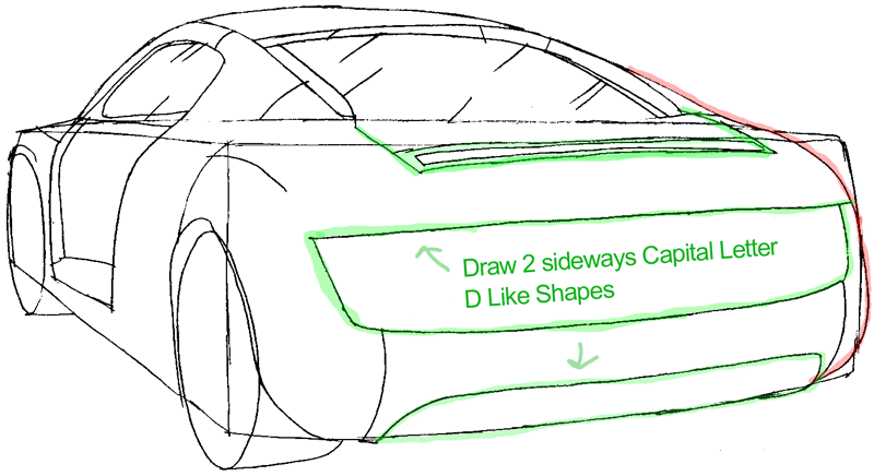 Step 6a : Drawing The Back of a Car Easy Steps Lesson