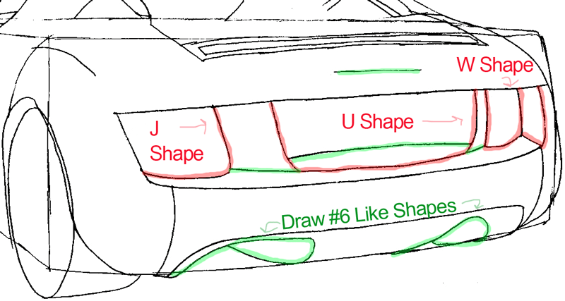 Step 6b : Drawing The Back of a Car Easy Steps Lesson