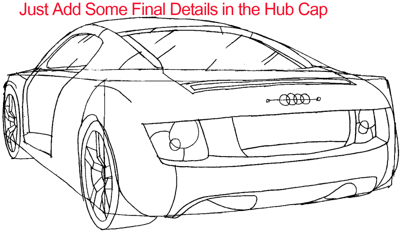 Step 7 : Drawing The Back of a Car Easy Steps Lesson