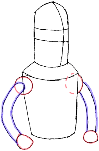 Step 3 : Drawing Bender from Futurama Easy Steps Lesson