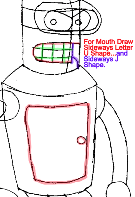 Step 6 : Drawing Bender from Futurama Easy Steps Lesson
