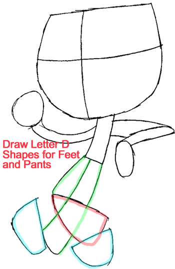 Step 4 : Drawing Jimmy from Jimmy Two Shoes Easy Steps Lesson