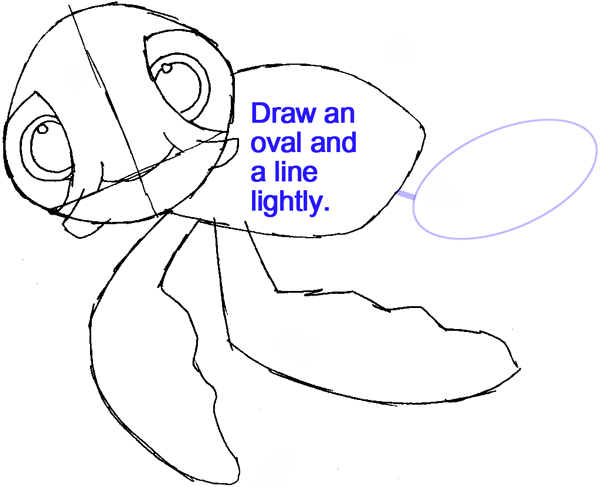 Step 5a : Drawing Squirt the Turtle from Finding Nemo in Easy Steps Lesson