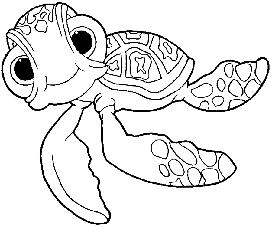 How to draw squirt the turtle from finding nemo with easy for Finding nemo coloring pages free