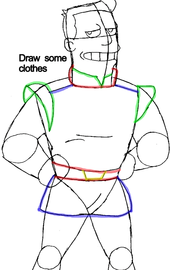 Step 7 : Drawing Captain Zapp Brannigan from Futurama Easy Steps Lesson