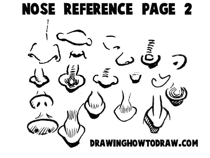 Cartoon Noses Reference Sheets And Examples For Drawing Practice How To Draw Step By Step Drawing Tutorials
