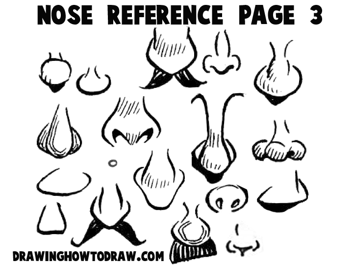 Line Drawing Nose : Cartoon noses reference sheets and examples for drawing