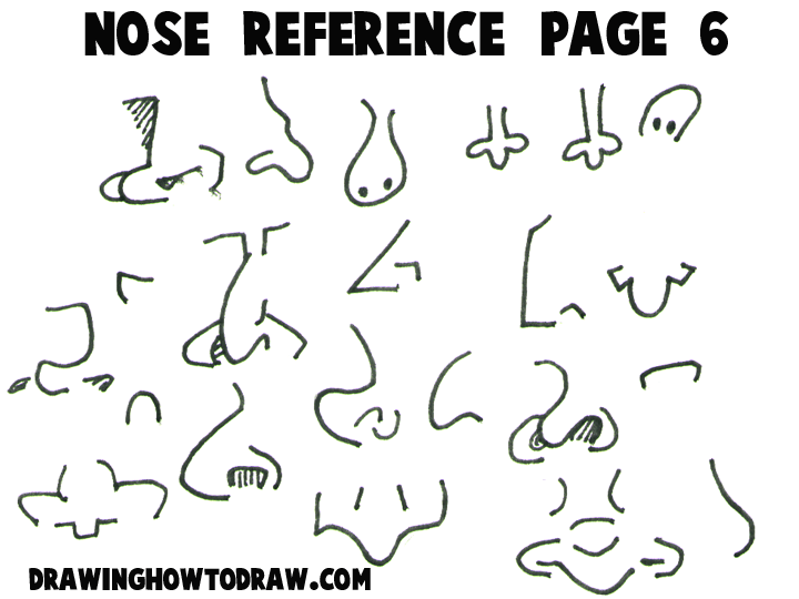 Cartoon noses reference sheets and examples for drawing practice cartoon and comic reference sheet 6 ccuart Gallery