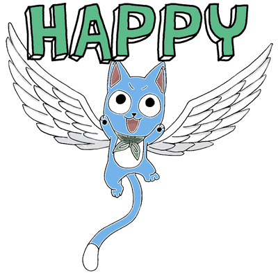 How to draw Exceed Happy from Fairy Tail with easy step by step drawing tutorial