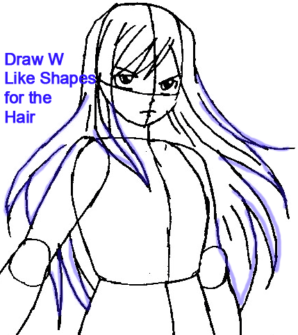 Step 6b : Drawing Erza Scarlet from Fairy Tail in Easy Steps Lesson