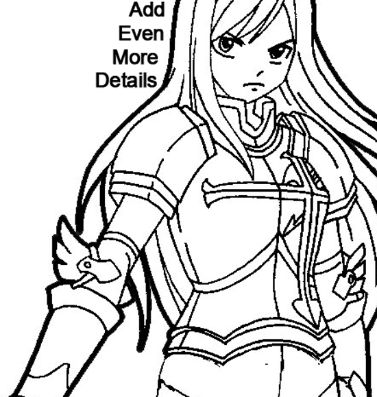 Step 8 : Drawing Erza Scarlet from Fairy Tail in Easy Steps Lesson