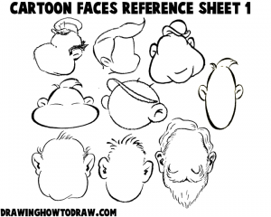 Cartoon Faces Reference Sheets and Examples 1
