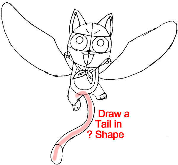 Step 10 : Drawing Exceed Happy from Fairy Tail in Easy Steps Lesson