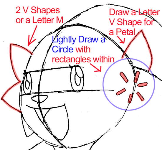 Step 6a : Drawing Shaymin from Pokémon in Easy Steps Lesson