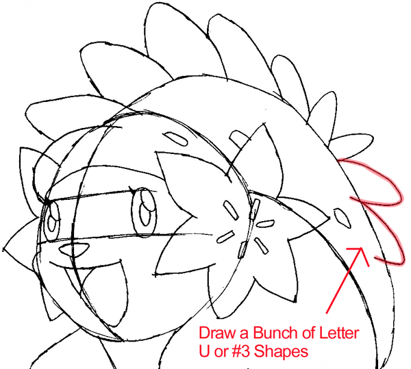 Step 7 : Drawing Shaymin from Pokémon in Easy Steps Lesson