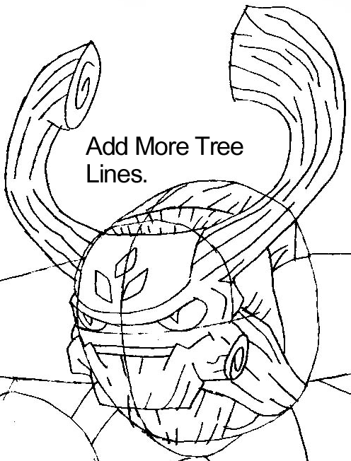 Step 7 : Drawing Tree Rex from the game Skylanders: Giants in Easy Steps Lesson