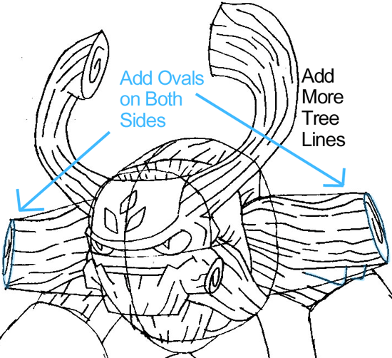 Step 8 : Drawing Tree Rex from the game Skylanders: Giants in Easy Steps Lesson