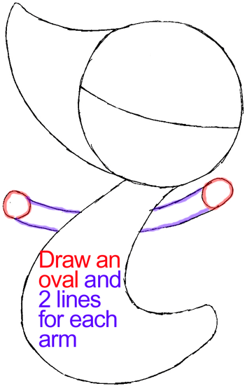 Step 4 : Drawing Snivy from Pokémon in Easy Steps Lesson