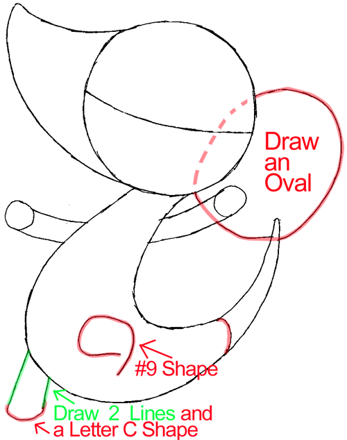 Step 5 : Drawing Snivy from Pokémon in Easy Steps Lesson