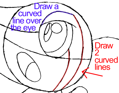 Step 6c : Drawing Snivy from Pokémon in Easy Steps Lesson