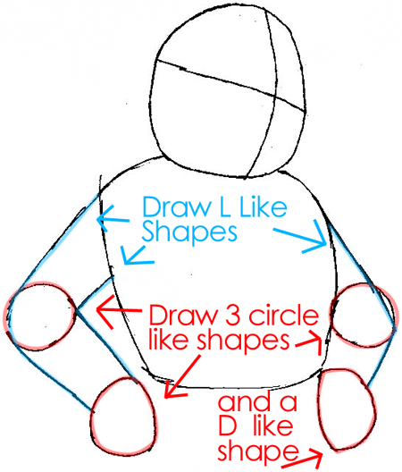 Step 3 : Drawing Wolf O'Donnell from the Star Wolf Team in Easy Steps Lesson