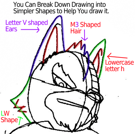 Step 6 : Drawing Wolf O'Donnell from the Star Wolf Team in Easy Steps Lesson