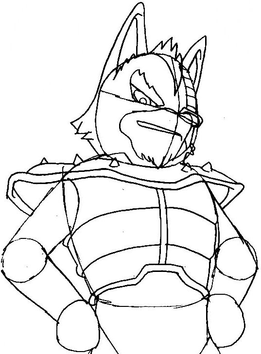 Step 7 : Drawing Wolf O'Donnell from the Star Wolf Team in Easy Steps Lesson