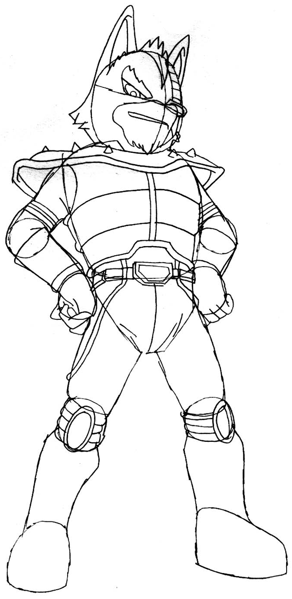 Step 9 : Drawing Wolf O'Donnell from the Star Wolf Team in Easy Steps Lesson