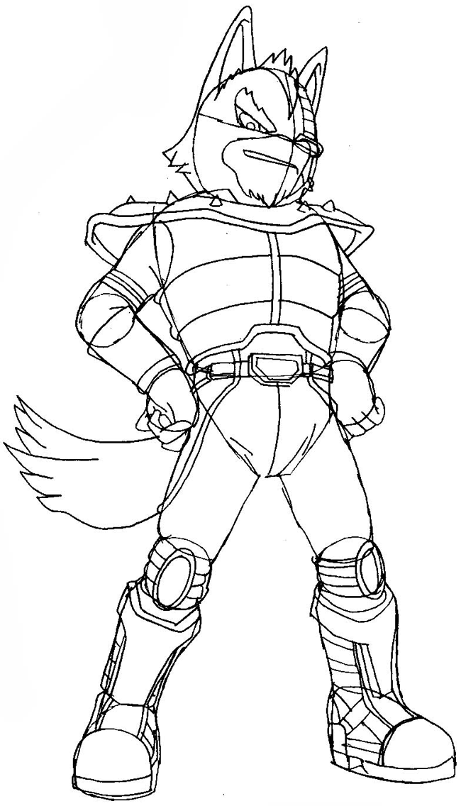 Step 10 : Drawing Wolf O'Donnell from the Star Wolf Team in Easy Steps Lesson