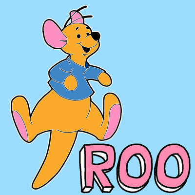 How to draw Roo from Winnie The Pooh with easy step by step drawing tutorial
