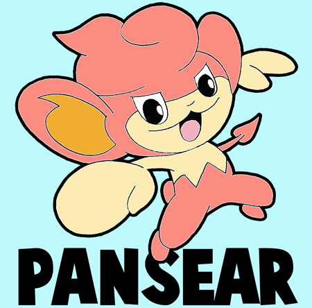 How to draw Pansear from Pokémon from with easy step by step drawing tutorial