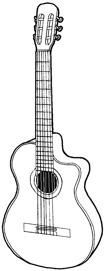Contour Line Drawing Guitar : How to draw a guitar with easy step by drawing