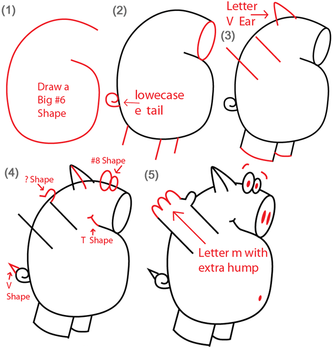Number 6 Shaped Cartoon Pigs Drawing Tutorial Steps