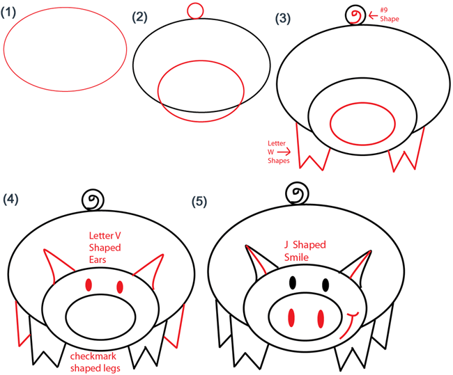 Oval Piggy Lesson Steps